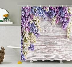 Ambesonne Rustic Home Decor Shower Curtain, Lilac Flowers Bo