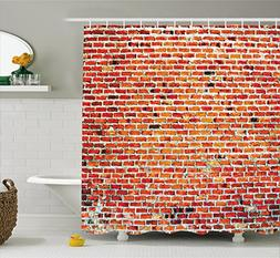 Rustic Home Decor Shower Curtain by Ambesonne, Brick Wall wi