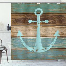 Rustic Shower Curtain Anchor on Wooden Planks Print for Bath