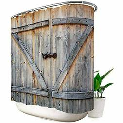 Rustic Shower Curtain Barn Door 108x72 Inch Extra Wide 18 Pa