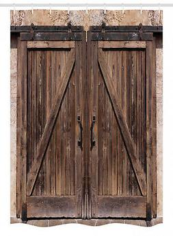 Rustic Stall Shower Curtain Wooden Barn Door Image Print for