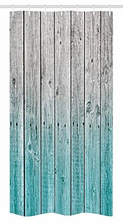 Ambesonne Rustic Stall Shower Curtain, Wood Panels Backgroun