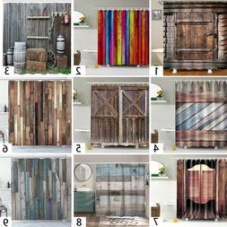 Rustic Wooden Barn Door Western Shower Curtain Bath Curtain