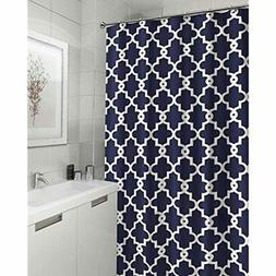 Ruthy's Textile Geometric Patterned Shower Curtain, Navy Hom