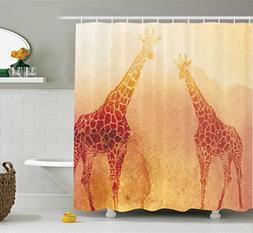 Ambesonne Safari Decor Shower Curtain Set, Illustration Of T