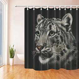 safari tiger black bath curtain