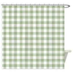 CafePress Sage Green Gingham Checked Pattern Shower Curtain