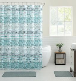 VCNY Home Saray Medallion 13 Pc Blue Turquoise Fabric Shower