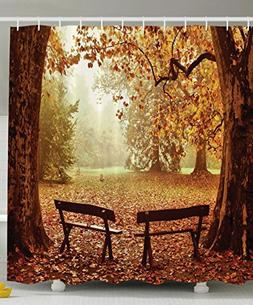 Ambesonne Scenic Decor Collection, Fall Foliage Leaves Bench