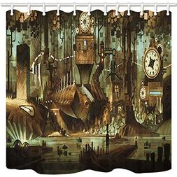 NYMB Science Fiction Shower Curtain, Machinery Clock Steampu
