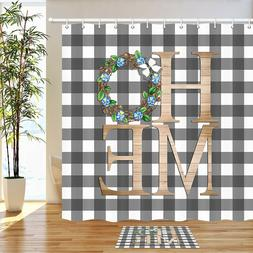 Scottish Checkered and HOME Shower Curtain Bathroom Decor Fa