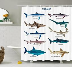 Ambesonne Sea Animal Decor Shower Curtain, Collection Types