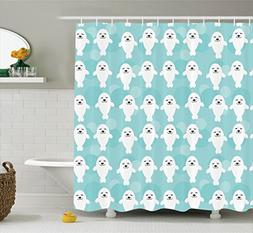 Ambesonne Sea Animals Decor Shower Curtain Set, White Baby S
