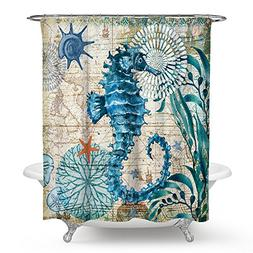 Econie Sea Horse Shower Curtains Ocean Animal Waterproof Pol