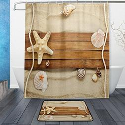 ALAZA Set of 2 Sea Ocean Beach Theme 60 X 72 Inches Shower C