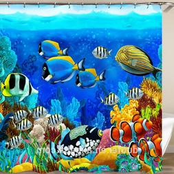 Sea Ocean Tropical Fish Coral Shower Curtain Polyester 12 Ri