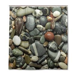 ALAZA Sea Pebble Stones Beach Rocks Shower Curtain Custom Wa