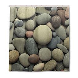 ALAZA Sea Pebble Stones Shower Curtain Custom Waterproof Fab
