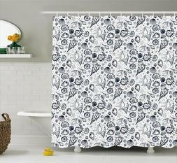 Sea Shells Pattern Shower Curtain Fabric Decor Set with Hook