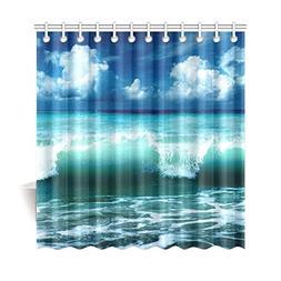 InterestPrint Sea Theme Home Bath Decor, Ocean Wave Blue Sky