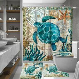 Blue Sea Turtle Bathroom Shower Curtain or Bath Mat Toilet C
