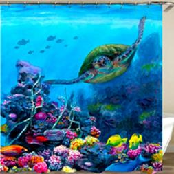 Sea Turtle Tropical Fish Coral Shower Curtain Polyester with