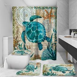 Sea Turtle Bathroom Polyester Shower Curtain Non Slip Toilet