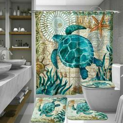 Sea Turtles Bathroom Shower Curtain Toilet Cover Mat Rug Set