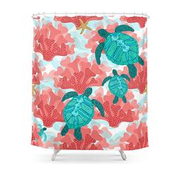 Society6 Sea Turtles In The Coral - Ocean Beach Marine Showe