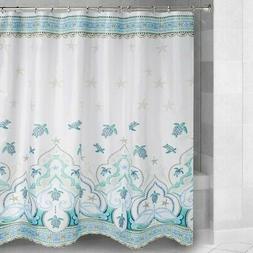 Sea Turtles Fabric Shower Curtain Jewel Tones Coastal Beach