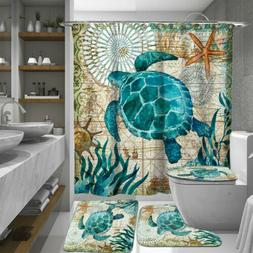 Sea Turtles Waterproof Non-Slip Bathroom Shower Curtain Toil