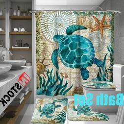 Sea Turtles Waterproof  Non-Slip Bathroom Shower Curtain Toi