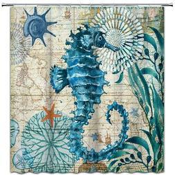 Seahorse Shower Curtain Ocean Animal Fabric Bathroom Decor w