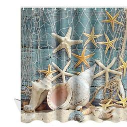 Seashell Beach Shower Curtain Waterproof Ocean Themed Decora
