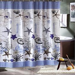 Seashell Starfish Shower Curtain Kit with Hooks, Under Sea O