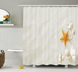 Ambesonne Seashells Decor Collection, Beach With a Lot of Se