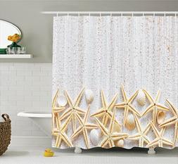 Ambesonne Seashells Decor Shower Curtain Set, Sea Shells On