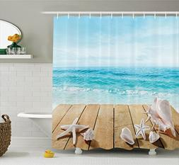 Ambesonne Seashells Decor Shower Curtain Set, Wooden Boardwa