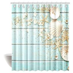 InterestPrint Seashells Decor Shower Curtain, Seashells And