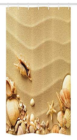 Ambesonne Seashells Stall Shower Curtain, Seashells on Sandy