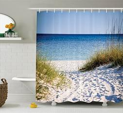 Ambesonne Seaside Decor Collection, Path to the Beach Clear