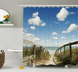 Ambesonne Seaside Decor Collection, Sandy Path Leads to Ocea