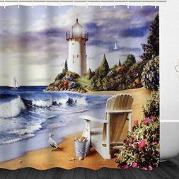 Seaside Landscape Shower Curtain, Coastal Seashore Lighthous