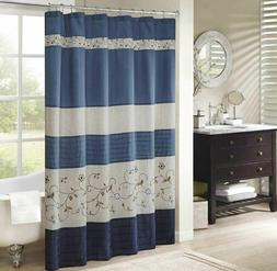 Shower Curtain Madison Park Serene Faux Silk Embroidered Floral