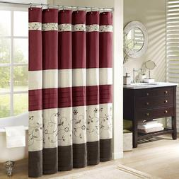 Madison Park Serene Floral Embroidered Faux Silk Shower Curt