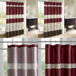 Madison Park Serene Shower Curtain Faux Silk Embroidered Flo