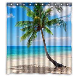Shower Curtain Set Bathroom Fabric Decorative Tropical Scene