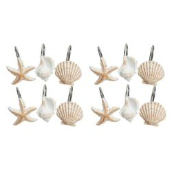 Set of 12 Decorative Sea Shell Rolling Shower Curtain Rings