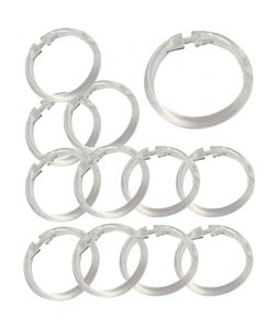 Set of 12 Easy-to-Use Plastic Snap On Shower Curtain Rings /