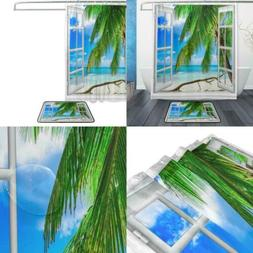 ALAZA Set of 2 Beach Ocean Sea Theme 60 X 72 Inches Shower C